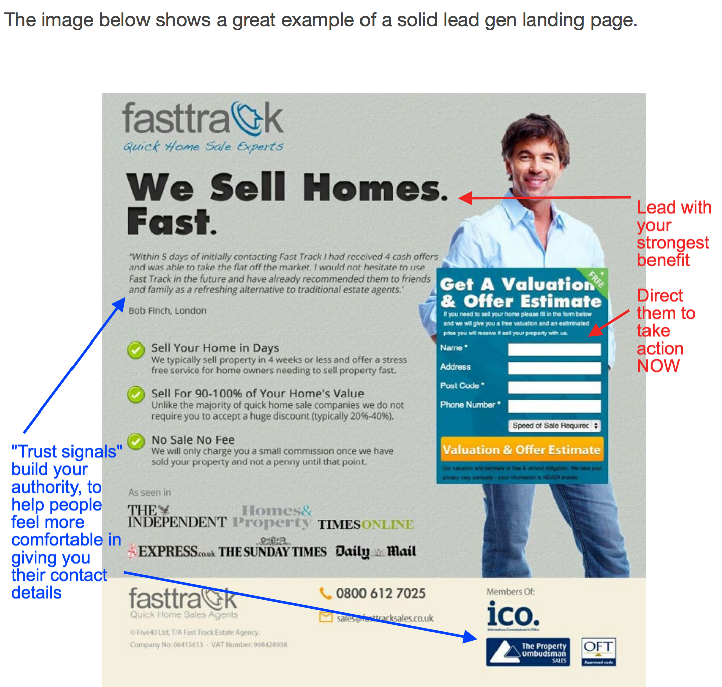An example of a good landing page for lead gen